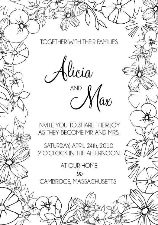 """""""B&W Floral"""" Custom Wedding Invitation"""