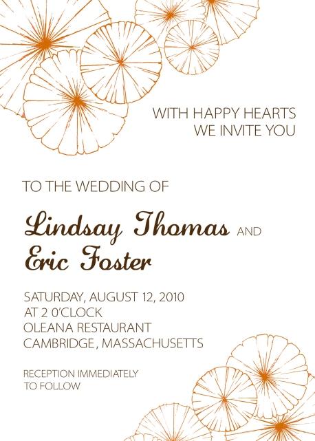 Copper Floral Custom Wedding Invitation