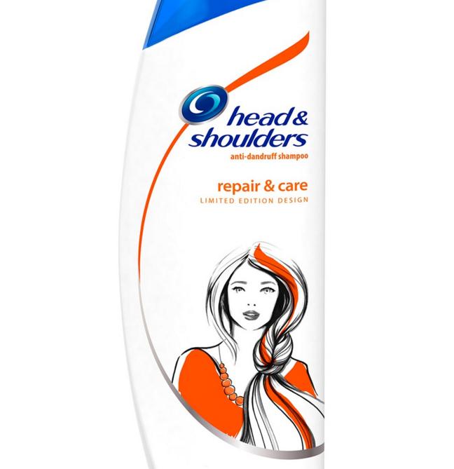 """Repair & Care"" Shampoo Bottle Illustration"