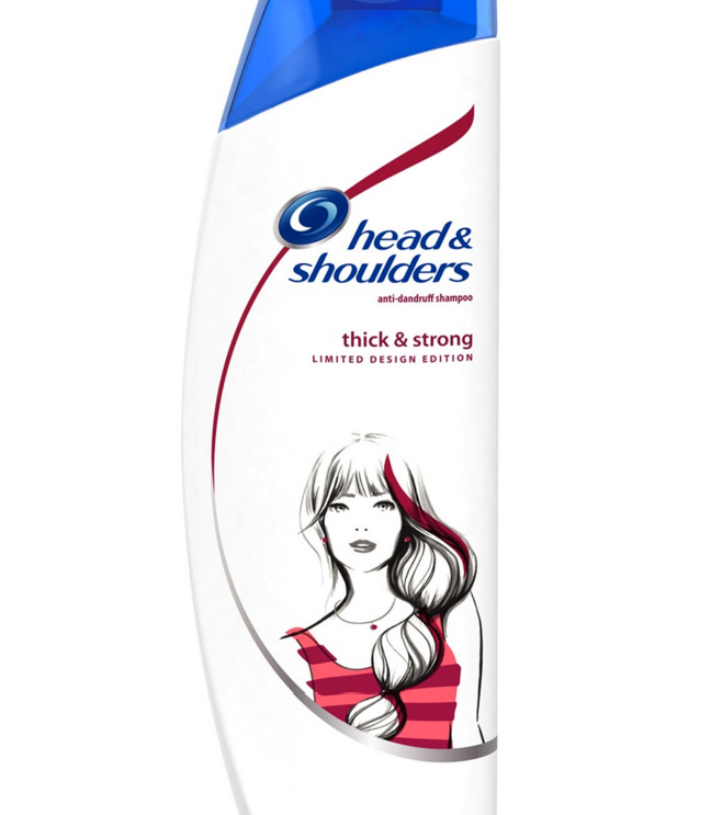 """Thick & Strong"" Shampoo Bottle Illustration"