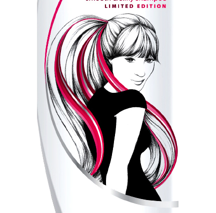 """Little Black Dress"" Shampoo Bottle Illustration"
