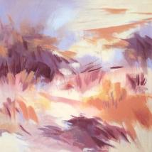 "Hiking in Denim, 2019. Acrylic on canvas, 12x12"""